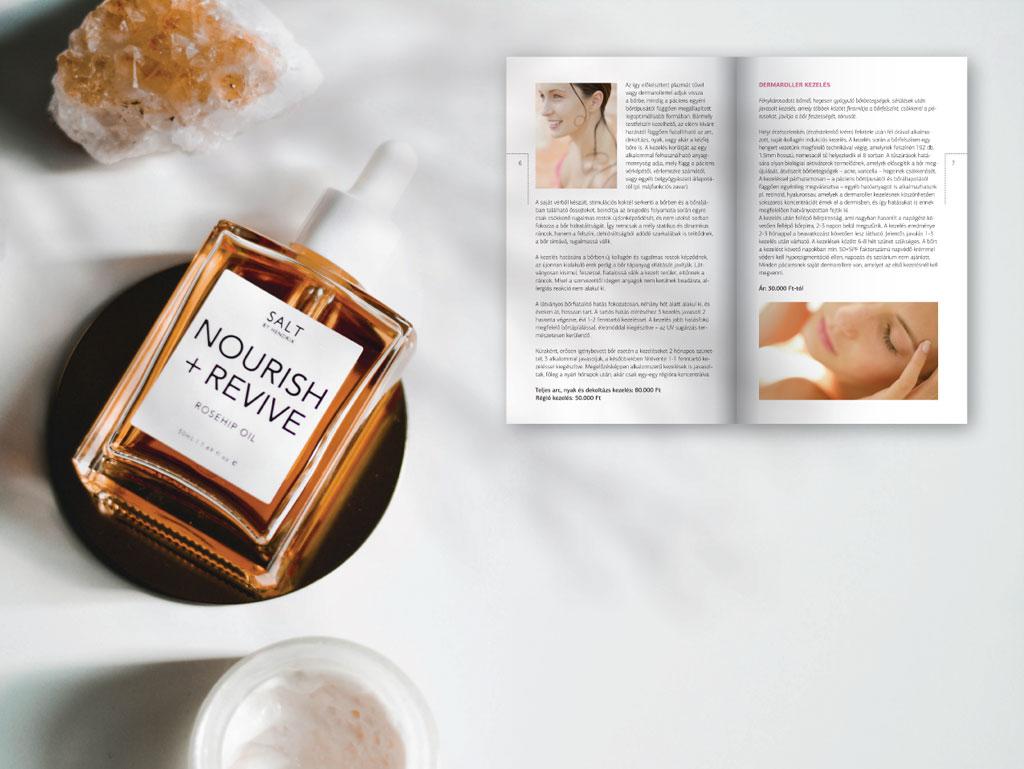 Beauty brosúra egyedi formátumban, ezüstösen csillogó gyöngyházfényű papíron, elegáns tipográfiával és látványos tördeléssel